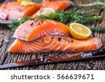 salmon fish..raw salmon fillet... | Shutterstock . vector #566639671