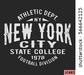 t shirt print design. new york... | Shutterstock .eps vector #566642125