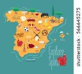 map of spain vector... | Shutterstock .eps vector #566645275