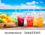 colorful cold drinks in plastic ... | Shutterstock . vector #566653345