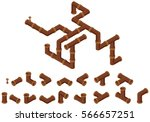 isometric pipes. | Shutterstock .eps vector #566657251