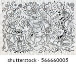 and drawing doodle vector... | Shutterstock .eps vector #566660005