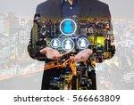 double exposure business... | Shutterstock . vector #566663809