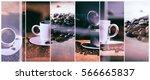 hot coffee. coffee grinder ... | Shutterstock . vector #566665837