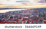 lisbon panoramic view in the... | Shutterstock . vector #566669149