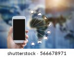 man's hand shows mobile... | Shutterstock . vector #566678971