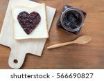 toast with jam in shape of... | Shutterstock . vector #566690827