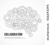 gears brain for cooperation or... | Shutterstock .eps vector #566693395