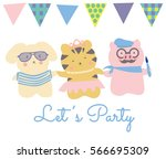 cute little animal friends dog... | Shutterstock .eps vector #566695309