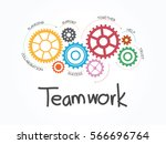 teamwork with gear concept.... | Shutterstock .eps vector #566696764