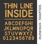 thin line inside alphabet with... | Shutterstock .eps vector #566697601