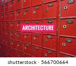 architecture words with red box ... | Shutterstock . vector #566700664