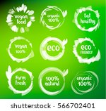 set of green labels and badges... | Shutterstock .eps vector #566702401
