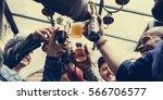 hands hold beverage beers... | Shutterstock . vector #566706577
