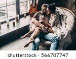 romantic couple. top view of... | Shutterstock . vector #566707747