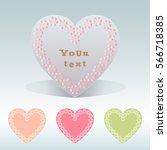 set of flower wreaths. heart... | Shutterstock .eps vector #566718385