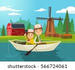 father and son characters... | Shutterstock .eps vector #566724061