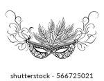 sketch carnival mask. black...   Shutterstock .eps vector #566725021