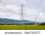 high voltage power pole sky...   Shutterstock . vector #566725177