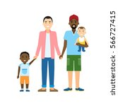 isolated gay family. two... | Shutterstock . vector #566727415