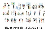 work in office set on white...   Shutterstock .eps vector #566728591
