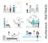 isolated hospital set on white... | Shutterstock .eps vector #566730631