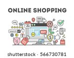 online shopping concept with... | Shutterstock .eps vector #566730781