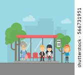 bus stop with passengers. urban ... | Shutterstock .eps vector #566731951