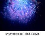 blue fireworks on the black sky ...   Shutterstock . vector #56673526