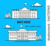white house. thin outline style ... | Shutterstock .eps vector #566735965