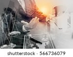 double exposure of justice and... | Shutterstock . vector #566736079