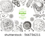 brazilian cuisine top view... | Shutterstock .eps vector #566736211