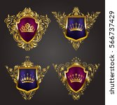 set of golden royal shields... | Shutterstock .eps vector #566737429