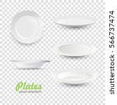 set of empty white plate on... | Shutterstock .eps vector #566737474