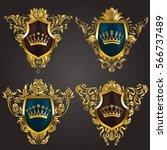 set of golden royal shields... | Shutterstock .eps vector #566737489
