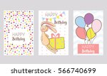 set of 3 children's birthday... | Shutterstock .eps vector #566740699