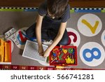child playing with toys tool... | Shutterstock . vector #566741281