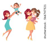 Mother With Kids Flat Vector...