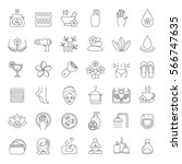 spa salon linear icons set.... | Shutterstock .eps vector #566747635