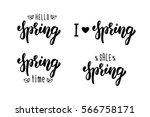 spring hand lettering set.... | Shutterstock .eps vector #566758171