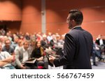 speaker giving talk at business ... | Shutterstock . vector #566767459