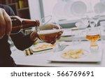 glass of lager beer in the... | Shutterstock . vector #566769691