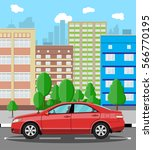 urban cityscape with red car.... | Shutterstock .eps vector #566770195