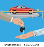 hand gives car keys to another... | Shutterstock .eps vector #566770645