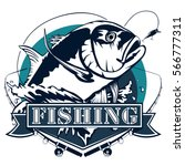 fishing emblem isolated on... | Shutterstock .eps vector #566777311