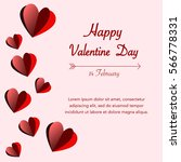 happy valentines day on pink... | Shutterstock .eps vector #566778331