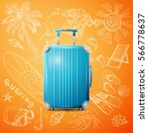 large polycarbonate suitcase | Shutterstock .eps vector #566778637
