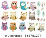 Stock vector vector set of cute isolated owls great for baby shower and kids design owls trees mushrooms 566781277