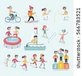 vector set cartoon ... | Shutterstock .eps vector #566783521