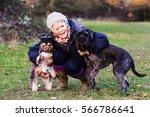 beautiful mature woman walking... | Shutterstock . vector #566786641